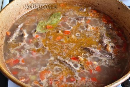 Заливаем мясо с овощами водой (500 мл, лучше кипятком), добавляем немного соли со вкусу (делаем чуть недосол, так как к мясу будем добавлять ещё огурцы), специи (3 горошины чёрного перца и 1 лавровый листик). Можно добавлять любимые специи, например, хорошо подойдут специи для говядины. Накрыть крышкой и тушить на медленном огне минут 30.