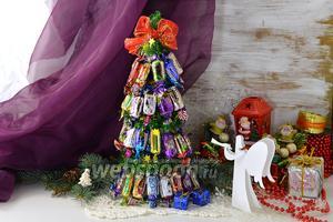 Фото совета Как сделать новогоднюю ёлку из конфет
