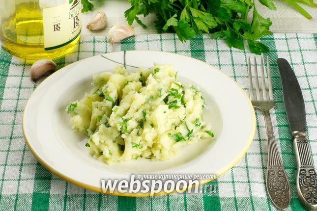 Фото Картофельное пюре с чесноком и зеленью