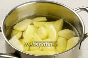 8-9 крупных картофелин, рассыпчатых сортов, очистить, порезать на крупные куски, залить кипящей водой (чтобы только покрыло картофель), добавить щепотку соли и варить до готовности 20-25 минут.