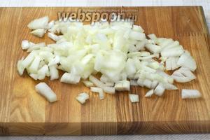 2 средние луковицы помыть и порезать.