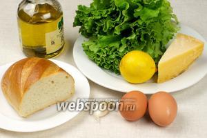 Основные продукты для приготовления салата Цезарь: листья салата, пармезан, куриные яйца, чеснок, оливковое масло и батон для крутонов.