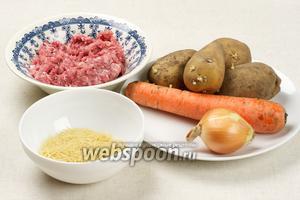 Основные продукты для приготовления супа с фрикадельками: фарш, картофель, морковь, лук, вермишель и специи.