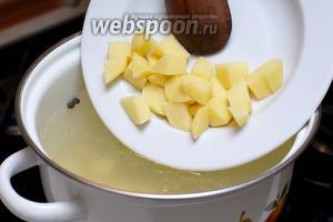 Когда бульон будет готов, вынуть грудку и добавить картофель — варить 15-20 минут до готовности.