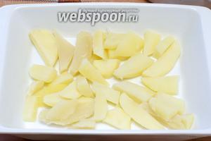 В форму для выпекания выложить на дно первый слой картофеля.