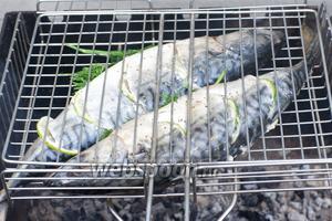 Выложить рыбу на решётку и запекать на углях 20-30 минут.