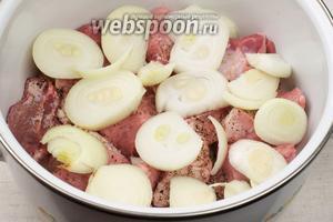 Сверху выложить слой лука — уложить слоями всё мясо с луком, каждый слой мяса присыпая перцем и солью.
