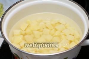 Залить картофель холодной водой, добавить щепотку соли и варить до готовности 10-15 минут с момента закипания. Важно картофель не переварить, чтобы он не потерял форму и не превратился в пюре.