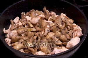 Добавить к индейке грибы с луком.