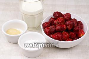 Для приготовления мусса сливки должны быть жирностью не менее 30%, клубнику лучше взять хорошо спелую, сахарная пудра добавляется по вкусу.