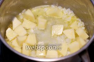 Затем к луку с чесноком добавить, лавровый лист, 1 крупную картошку и 3-4 ст.л. воды, в которой варится капуста — готовить всё 10 минут.