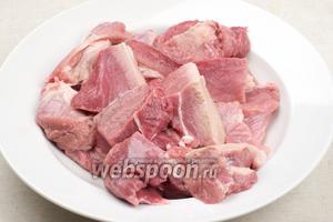 Мясо хорошо помыть,  обсушить и порезать на средние куски.