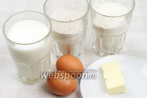Для приготовления блинов понадобится мука гречневая и пшеничная, яйца, соль и сахар, молоко и масло сливочное. Все продукты должны быть комнатной температуры.