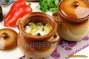 Горшочки с куриной печенью и овощами