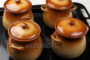 Закрыть горшочки крышками и поставить выпекаться в разогретую до 180 °С духовку на 50 минут. Затем проверить на готовность — если картофель легко прокалывается ножом, значит блюдо готово.
