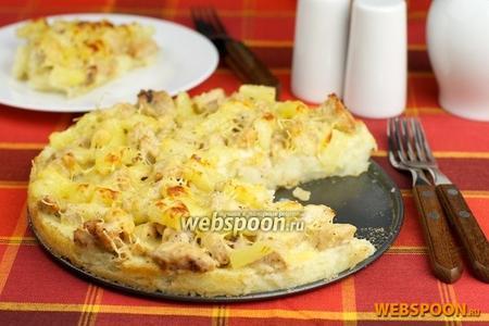 Картофельная запеканка с индейкой и ананасами