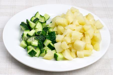 Картофель предварительно хорошо помыть и отварить в мундире 20-25 минут, а затем очистить и порезать кубиками. Огурцы так же порезать кубиками.