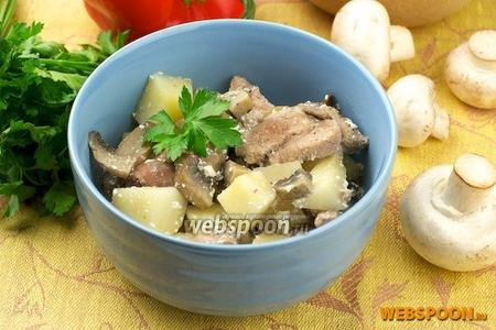 Горшочки с мясом и грибами
