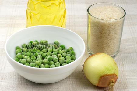 Для приготовления блюда возьмём рис, подсолнечное масло, репчатый лук, специи, горошек замороженный или свежий и кинзу для подачи готового блюда.