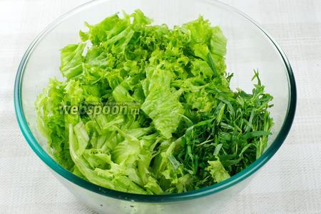 Салат и эстрагон хорошо помыть и мелко порезать.