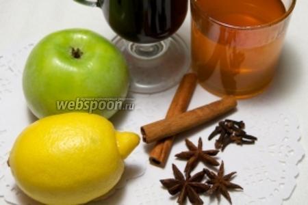 Для приготовления глинтвейна возьмём кисло-сладкое яблоко, красное полусухое вино, небольшой лимон, гвоздику, бадьян, корицу и мёд.