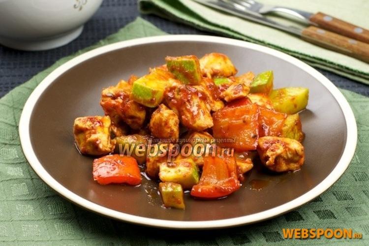 Фото Куриное филе с кабачком и сладким перцем