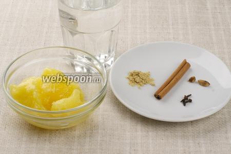 Доя приготовления напитка возьмём мёд, палочку корицы, сухой молотый имбирь, несколько бутонов гвоздики и кардамон.