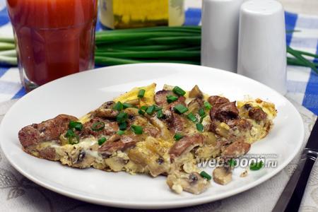 Омлет с грибами и куриной печёнкой