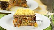 Фото рецепта Печёночный торт из куриной печени