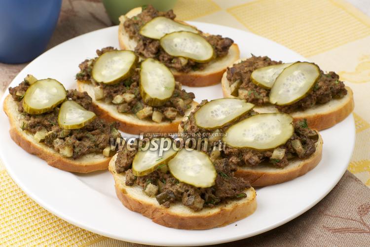 Фото Бутерброды с куриной печенью