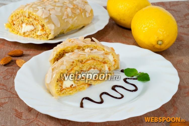 Фото Бисквитный рулет с лимонным кремом