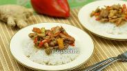 Фото рецепта Курица с грибами и сладким перцем