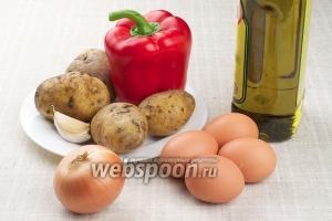 Для приготовления тортильи возьмём яйца, картофель, оливковое масло, репчатый лук, чеснок и специи.