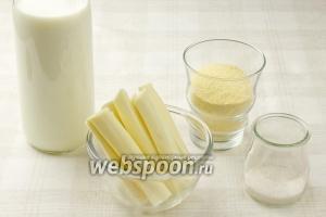 Чтобы приготовить эларджи возьмите: молоко, кукурузную муку, сыр сулугуни и соль.