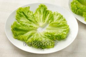 Листья салата промойте и обсушите. Порвите на крупные куски и распределите их по порционным тарелкам.