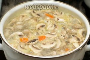В бульона добавить овощи и варить всё на медленном огне до мягкости лука 20-25 минут.