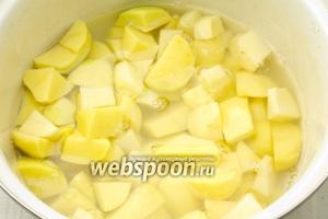 Очистите картофель и нарежьте крупными кубиками. Залейте водой и варите минут 30-40 до готовности.