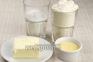 Для приготовления печенья возьмём муку пшеничную, муку кукурузную, сахарную пудру и мягкое сливочное масло.