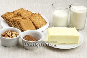 Для приготовления шоколадной колбасы возьмём песочное печенье, сливочное масло, молоко, сахар, какао и любые орехи.