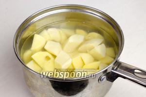 Картофель очистить, крупно нарезать, залить водой и посолить. Варить до готовности 25-35 минут.
