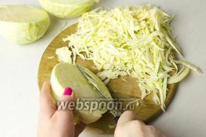 Нашинкуйте капусту. Старайтесь нарезать капусту не слишком крупно и не совсем тонко.