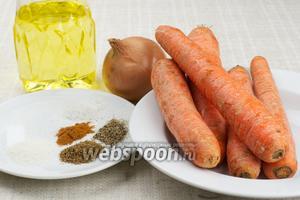 Для приготовления моркови по-корейски возьмём растительное масло, чеснок, репчатый лук, специи: соль, сахар, молотый кориандр, красный и чёрный молотый перец.