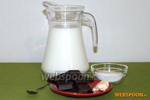 Для приготовления горячего шоколада вам потребуются: молоко, шоколад, крахмал, сливочное масло и ванилин.