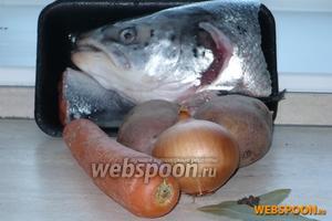 Для того, чтобы бульон был наваристым лучше воспользоваться суповым набором (голова и хвост), если на куске недостаточно мяса рыбы, добавьте стейк. Помимо рыбы необходимы картофель, морковь, лук, соль и специи.