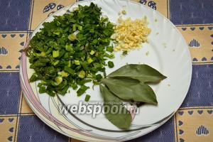 Петрушку, укроп, лавровый лист, зелёный лук, а также  мелко нарезанный чеснок и молотый перец добавляем в борщ после капусты.