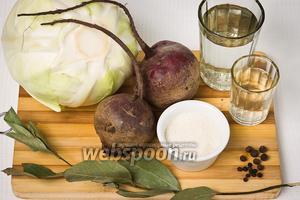 Основные продукты для приготовления блюда: капуста белокачанная, свёкла, вода, уксус, чёрный и душистый перец, сахар, лавровый лист и соль.