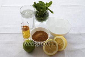 Для приготовления мохито нам понадобится мята, тростниковый сахар, лимон и лайм, золотой ром, спрайт и дроблёный лёд.