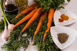 Для приготовления пюре нам понадобится свежая морковь, чеснок, оливковое масло, свежий лимонный сок, соль, несколько веточек кинзы и приправы: зира, кайенский перец, куркума.