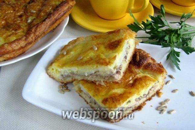 Фото Открытый пирог с сайрой и картофелем