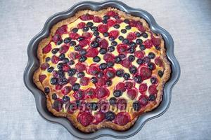Выпекать 40 минут при температуре 200 °С. Остудить пирог в форме, затем выложить на блюдо. Остывший пирог можно слегка посыпать сахарной пудрой.